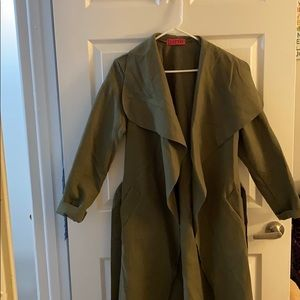 Long green trench coat